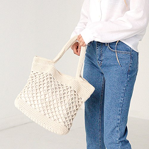 Cotton Light Brown Straw Shoulder Bag Tote Handmade Beach Handbag LA Weave Casual Summer Haute White Threads R6xOw