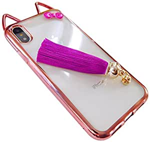 Rose-Glod/Clear ByBee SPECIAL CASE Bow-knot & Tassel & Shiny case for iphone X / iphone 10 (5.8 IN) - ByBee Retail Packaging (BBSPLSKTARGD)