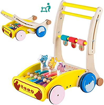HBIAO Andador de Actividad, Andador Plegable de Madera para bebé ...