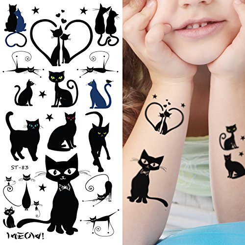Supperb Temporary Tattoos - Cats (Black (Halloween Scared Cat)