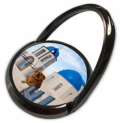 3dRose Danita Delimont - Greek Islands - Greece, Santorini, Oia, dog, blue domed churches - EU12 DGU0358 - Darrell Gulin - Phone Ring (phr_81835_1)