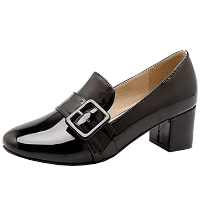 fafed542e4316 Agodor Womens Mid Block Heel Court Shoes Buckle Slip On Loafer Shoes (US 4,