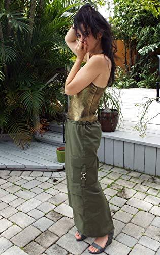 Long Cargo Skirt - Long Olive Green Ripstop Cargo Skirt