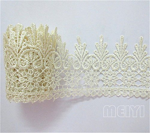 Venice Lace Dress - 5 Yard Venice Floral Lace Edge Trim Ribbon 9cm Wide Vintage Style 8 Color Edging Trimmings Fabric Embroidered Applique Sewing Craft Wedding Bridal Dress Embellishment Gift Party Decoration(Beige)
