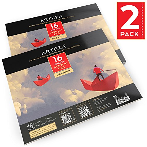 Arteza 11''x14'' Acrylic Pad 2 Pack, Total 32 Sheets, Two Glue Bound Artist Acrylic Paper Pads, 16 Sheets Each, Ideal for Acrylic Painting (246lb/400g) by ARTEZA