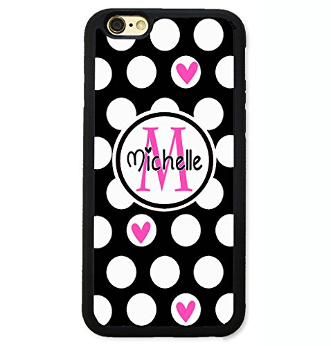 Pink Monogram Iphone (iPhone X Case, iPhone 10 Case, ArtsyCase Black White Polka Dots Hot Pink Heart Monogram Personalized Name Phone Case - iPhone X (Black))