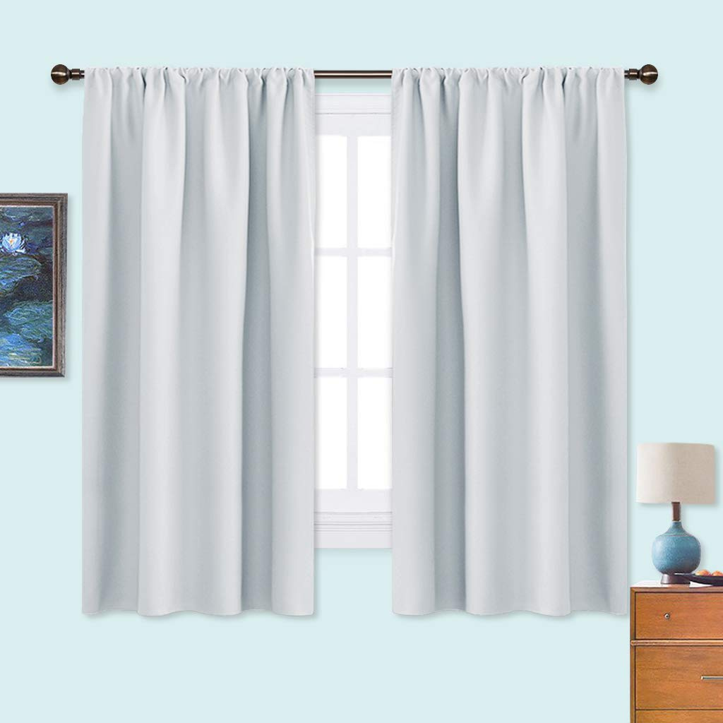 NICETOWN White Bedroom Curtain Panels - Window Treatment Thermal Insulated  Rod Pocket Room Darkening Curtains/Drapes for Bedroom (2 Panels,42 by ...