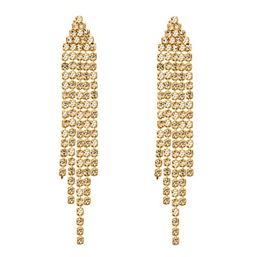 SELOVO Crystal Chandelier Tassel Chain Dangle Earrings Gold Tone