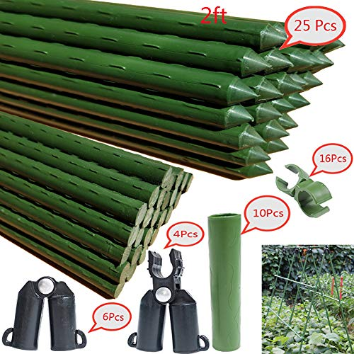 F.O.T Sturdy Metal Garden Stakes 25Pcs Gardening Support 2 Ft Plastic Coated Plant Sticks,Plant Cage Supports Climbing for Tomatoes,Trees,Cucumber,Fences,Beans,Vegetable Trellis(Climbing Frame)
