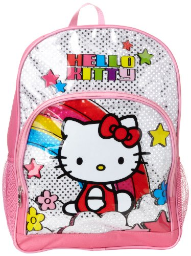 FAB Starpoint Girls' Little Hello Kitty 16 Inch Underglass Backpack, White/Pink Multi, One Size ()
