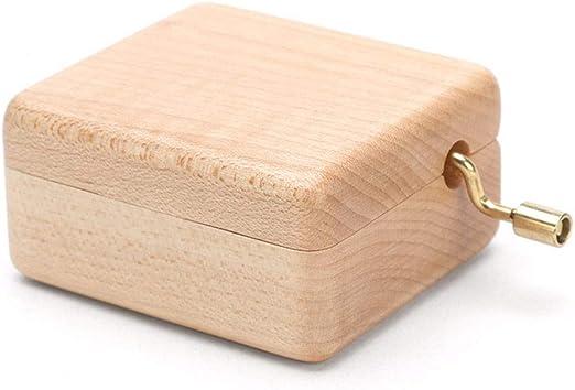 QFSLY Caja de Musica Caja de música con manivela de Madera Caja de ...