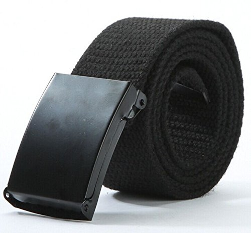 Belts Web Clothing Accessories (Canvas Web Belt Military Style with Flip-Top Black Buckle and Tip Solid Color 50