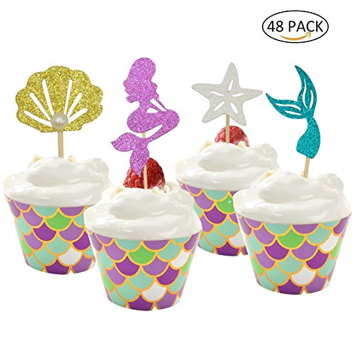 48 Pack Mermaid Cupcake Toppers + Wrappers for Birthday Party Supplies,Baby Shower, Cake Decoration by Sunnycows