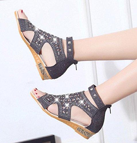 ZEZKT-Schuhe Roma Damen Sandalen Frühling Sommer Keil Mode Fisch Mund Hohl Roma Reißverschluss Schuhe mit Schöne Dekoratio Elegant Sandalette Schwarz