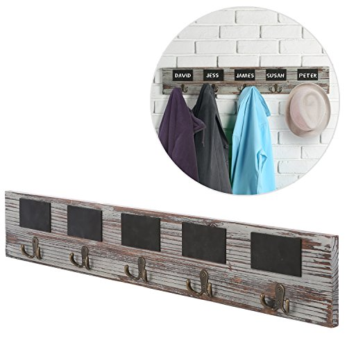 31 Inch Chalkboard Labels Rustic Brown Torched Wood Finish Wall Mounted Coat Hooks Hanger Rack - MyGift
