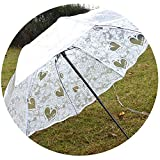 White Transparent Folding Umbrella Rain Women Waterproof Plastic Clear Lace Wedding Parasol Women 8 Ribs Activity Umbrellas,White