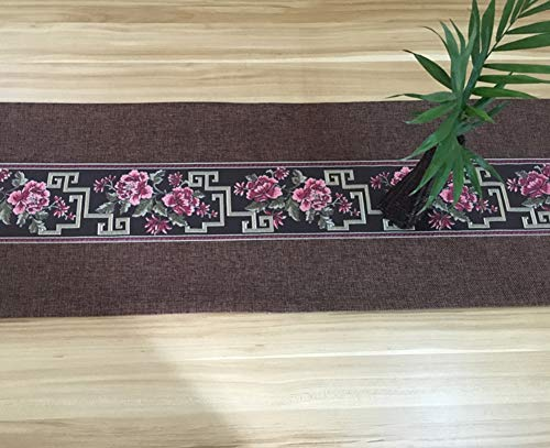 Jacquard Table runner,Damask Table runner Damask For coffee table Tv cabinet Textured Tablecloth-E ()