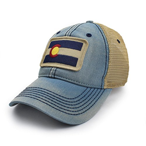 Colorado Flag Patch Trucker Hat, Americana Blue