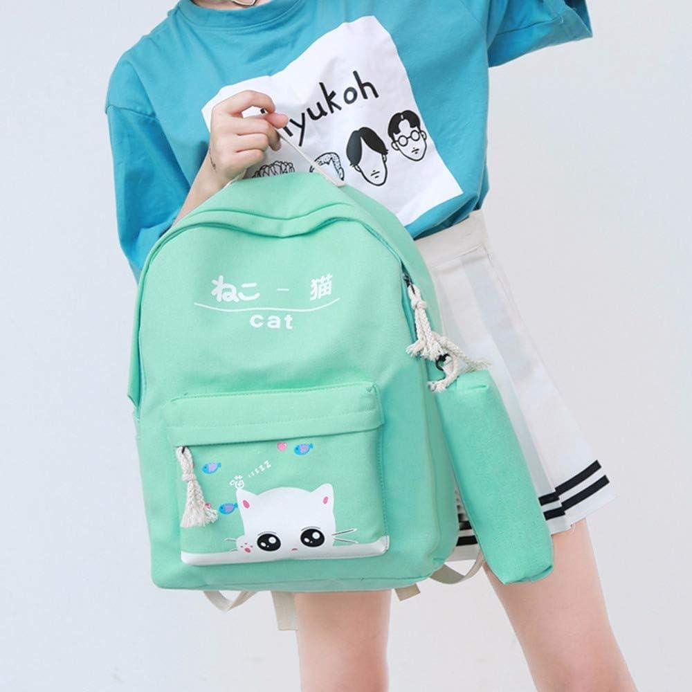 4cs//set Canvas Women Backpack Schoolbag Cute Cat School Bag Backpacks for Teenage Girls