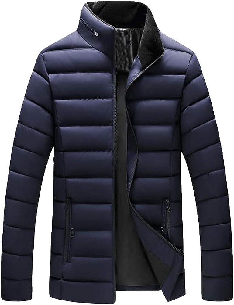 Men Boys Casual Solid Down Coat Warm Stand Collar Slim Winter Zip Jacket Outwear Top Blouse