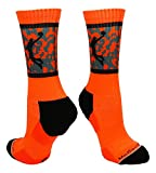 Basketball Player Crew Socks (Neon Orange/Black, Small)