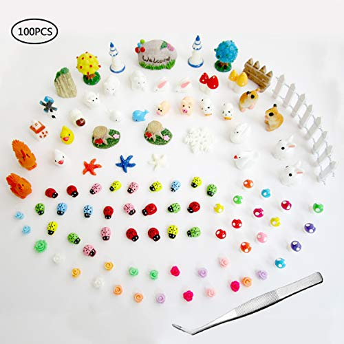 Atecy 100 Pcs Miniature Garden Ornaments Kit, DIY Fairy Garden Dollhouse Décor ()
