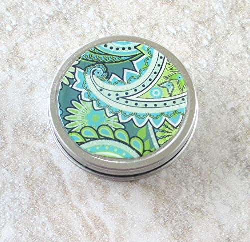 Green & Turquoise Paisley design tin, Screw top lid, 2oz capacity