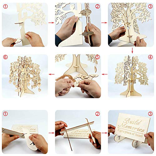 Lemoning ✔ Wedding Guest Book Tree Wooden Hearts Pendant Drop Ornaments Party Decoration