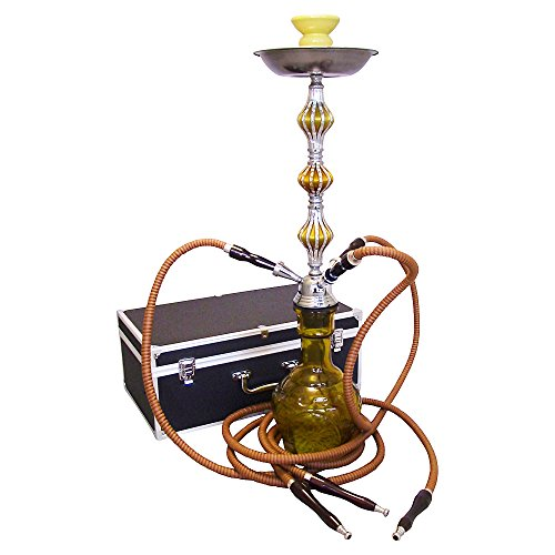The 26'' 3 Hose Sky Hookah Shisha with a Premium Carry Case (Yellow/Gold)