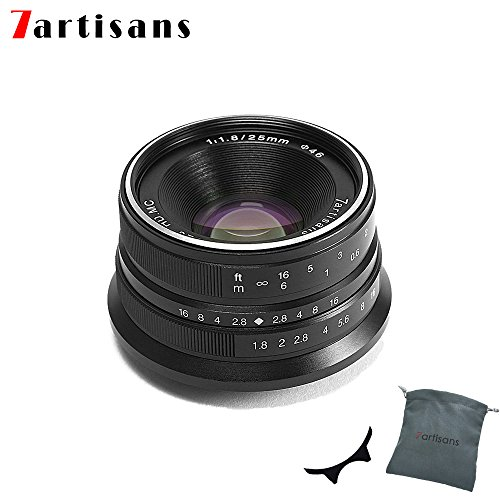 7artisans 25mm F1.8 APS-C Manual Fixed Lens for Fuji Cameras X-A1 X-A10 X-A2,X-A3 X-AT X-M1 XM2 X-T1 X-T10 X-T2 X-T20 X-Pro1 X-Pro2 X-E1 X-E2 X-E2s-Black by 7artisans