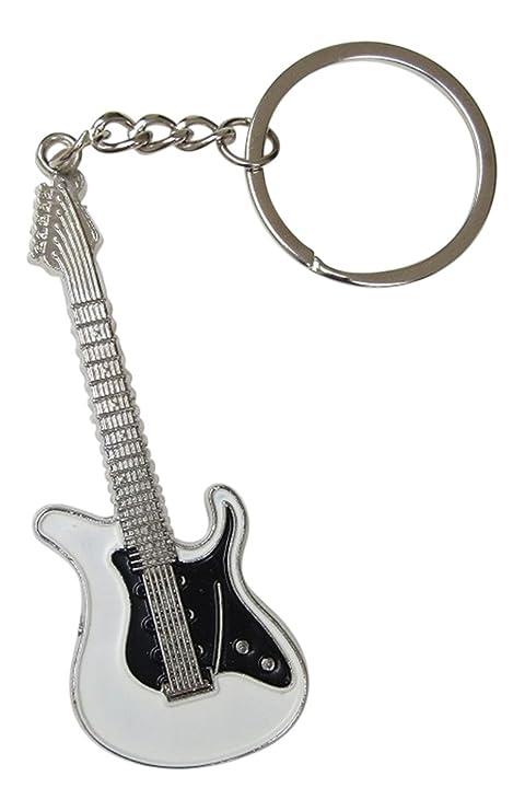 Générique Llavero de acero plateado diseño de guitarra eléctrica color blanco y negro.