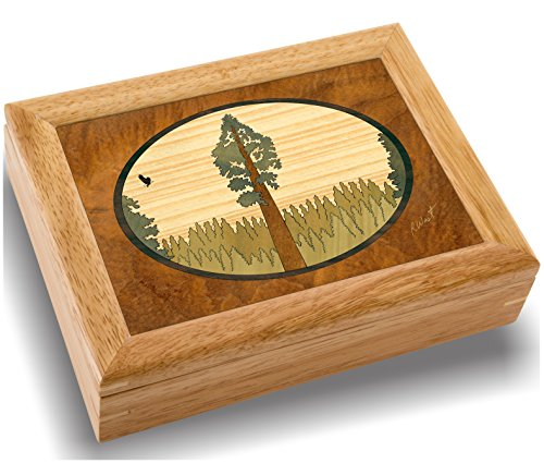 Wood Art Tree Box - Handmade in USA - Unmatched Quality - Unique, No Two are The Same - Original Work of Wood Art. A Giant Tree Gift, Ring, Trinket or Wood Jewelry Box (#2140 Giant Tree 6x8x2) ()
