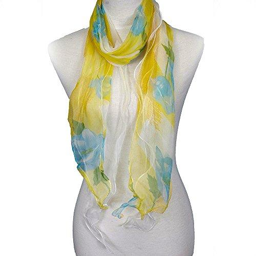 Layers Ladies Chiffon Silk Scarf - Zodaca Fashion Lightweight Double Layer 100% Floral Ruffle Summer Silk Chiffon Scarf for Women, Yellow/Blue