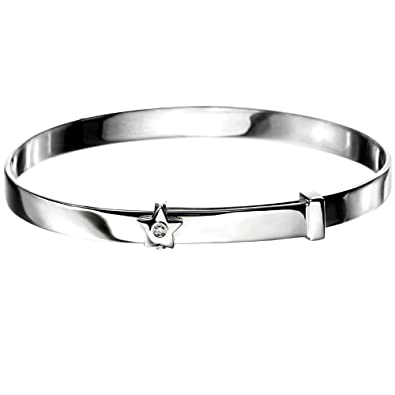 affc14222029e D for Diamond 925 Sterling Silver Star Baby Bangle for Girl: Amazon ...