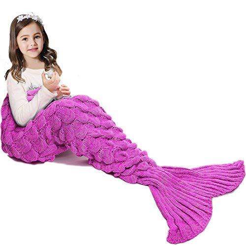 Mermaid Tail Blanket ,Hand Crochet Snuggle Mermaid,All Seasons Seatail Sleeping Bag Blanket for Kids,Teenage,Aduit by Jr.White -