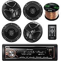 Pioneer DEH-X6900BT single din Bluetooth In-Dash CD/AM/FM Receiver Bundle Kit - with 4 JVC CSJ620 Car Speakers 300W 6.5 CS Series 2-Way Coaxial - Enrock 50 Feet Speaker 16gauge