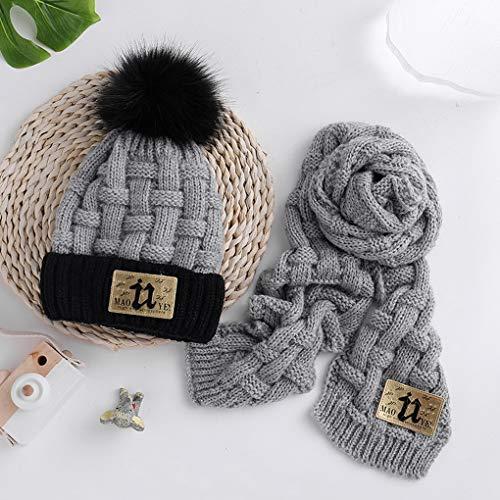 Filles Gris Acmede Costume Mignonne Bébés Enfants Chaud Chapeaux Écharpe Tricoté Garçons Set D'hiver 77Wvz