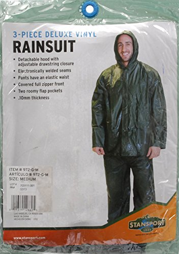 Stansport Men's Vinyl Rain Suit, Green, Medium