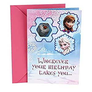 Amazon hallmark birthday greeting card for kids disney frozen hallmark birthday greeting card for kids disney frozen olaf stickers m4hsunfo