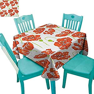 """longbuyer Anemone Flower,Washable Tablecloth,Doodle Style Poppy Anemone Field in Full Blossom May Flowers,36""""x36"""",Suitable for Kitchen, dustproof Desktop Decoration 42"""