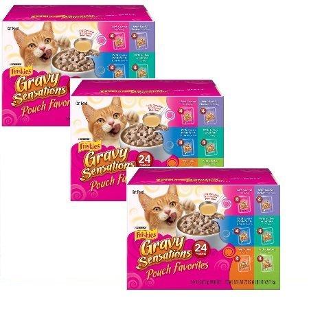 Friskies Gravy Sensations Pouch Favorites Cat Food Variety Pack 24-3 oz Pouches [4 each: Salmon In Gravy, Whitefish & Tuna, Tuna In Gravy, Beef & Chicken, Turkey & Giblets, & Chicken In Gravy] (Set 3) by Friskies