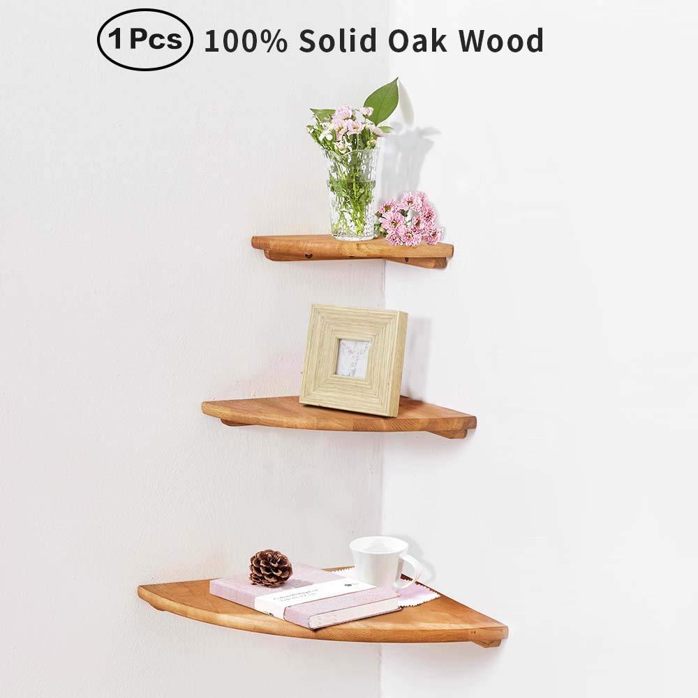 IPETSON Wooden Corner Shelf Unit,1 Pcs Round End Oak Wood Hanging Wall Mounted Floating Shelves Storage Shelving Table Bookshelf Drawers Display Racks Bedroom Office Home Décor Accents (Oak, 10'')