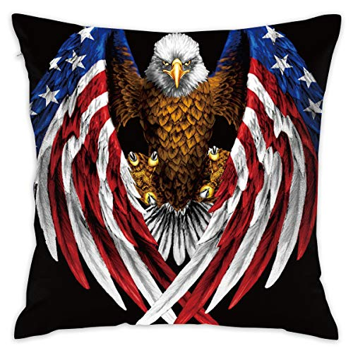 Ancharpin Bald Eagle USA Flag Pillow Case Cover 16.5X16.5 Inches Including Pillow Interior Double-Sided Printing Retro Couch Throw Pillow Square