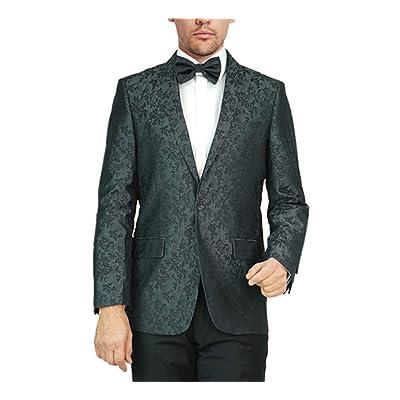 Adam Baker Men's Regular Fit Dinner Jacket Jacquard Floral Design Shawl Collar Wedding Tuxedo Blazer at Men's Clothing store