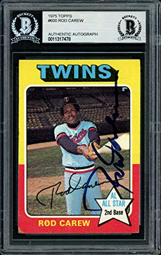 (Rod Carew Autographed Signed Memorabilia 1975 Topps Card #600 Minnesota Twins - Beckett Authentic)