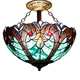 16C Tiffany Ceiling Light Fixture Semi Flush Ceiling Lamp 16 Inch Stained Glass Shade for Dinner Room Pendant 2 Light (S160G Series)