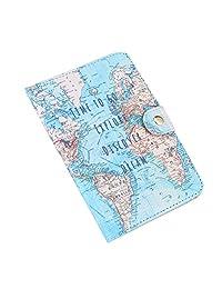 Pasaporte titular, linda impresión de cuero de la PU cuero pasaporte cubierta protección tarjeta de identificación de la tarjeta para hombres y mujeres(Mapa)