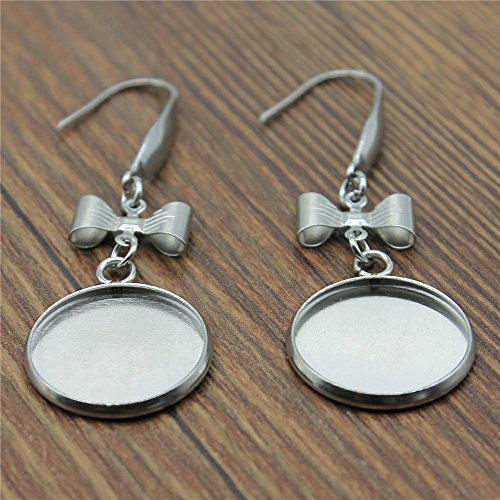 MEWME 30pcs Bowknot Hook Dangle Earrings Fit 16mm Round Photo Glass Cabochons Stainless Steel Blank Base Setting Men'S Jewelry Findings&Components H542 (Dangle Earring Bases)