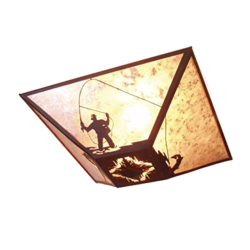 Steel Partners Lighting 2536-B FLY FISHERMAN Drop Ceiling Mount with Amber Mica Lens, Black Finish ()