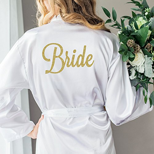 Wedding Robe for Bride, Bridal Party Robes, Gift for Bride to Be Glitter Embellished Satin Robe for Wedding